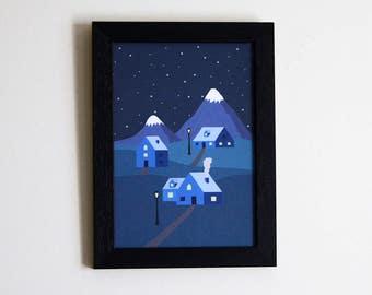 Mountain Town illustration print A5 - Home decor - Mountain - Mountain Town illustration - wall art