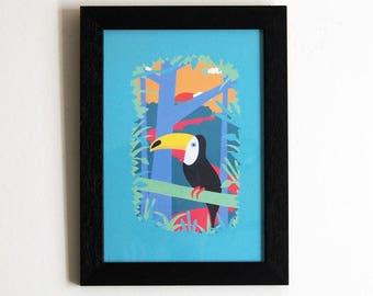 Toucan illustration A5 print - Bird Illustration - Jungle illustration - Wall art - Home decor - Bird art - Tropical - art - poster