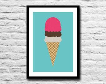 Ice Cream illustration A5 print - poster - ice cream print - Summer - Seaside - Soft scoop - Home decor - Kitchen art - wall art