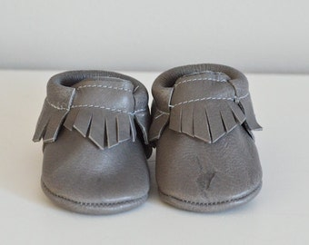 Gray Genuine Leather Baby Moccasins