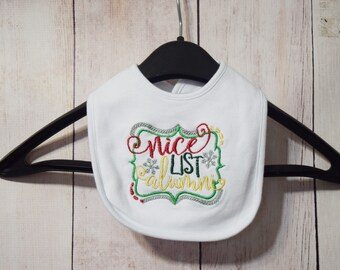 Baby Bib- Nice List Alumni- Christmas Bib- Embroidered Bib- Personalized Bib- New Baby Bib- Xmas Drool Bib- Boy Bib- Girl Bib- Baby Gift