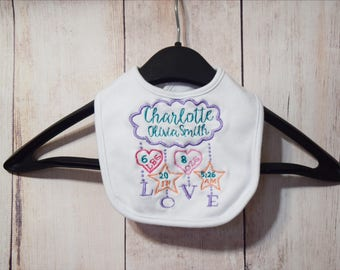 Birth Stats Baby Bib- Girl Birth Stats Bib- Personalized Baby Bib- New Baby Gift- Baby Shower Gift- Personalized Drool Bib- Custom Girl Bib