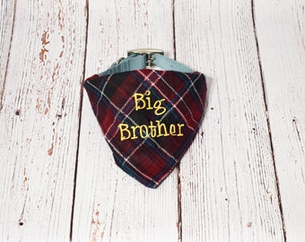 Plaid Big Brother Dog Bandana- Pregnancy Announcement- Baby Announcement- Pregnancy Reveal- Plaid Dog Bandana - Baby Reveal - Future Brother
