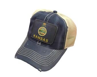 d5df2acbecd9a Kansas Flag Baseball Trucker Mesh Cap Hat Blue