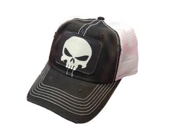 d1eb4379e4f Punisher Skull Baseball Trucker Mesh Cap Hat Black