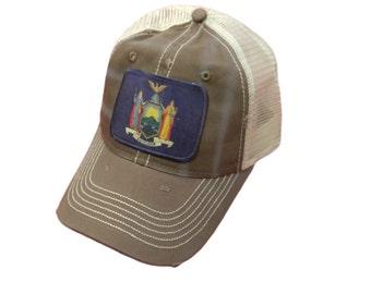 dc2ec0761e9cb New York Flag Baseball Trucker Mesh Cap Hat Brown