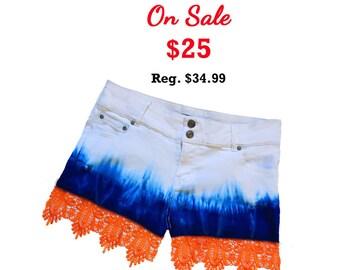Orange + Blue/Navy Tie-Dye Shorts with Lace Trim