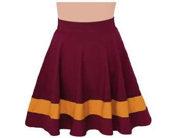 Deep Red + Golden Yellow Cheerleader Style Skirt