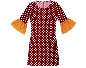 Deep Red and White Polka Dot Dress with Gold Trumpet Sleeves Game Day Dress
