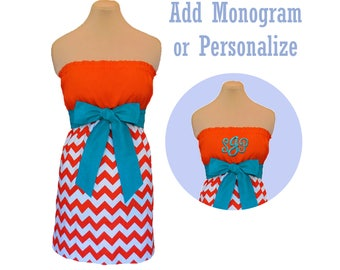 Orange + Aqua Chevron Game Day Dress