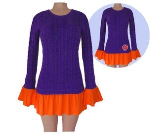 a9d230a31 Purple + Orange Tunic Sweater