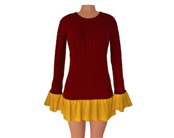 Deep Red + Yellow Tunic Sweater