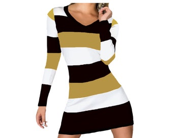 Black and Gold Stripe Game Day Dress