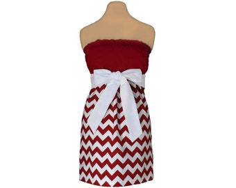 Deep Red + White Chevron Game Day Dress
