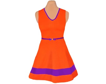Orange and Purple Game Day Skater Dress