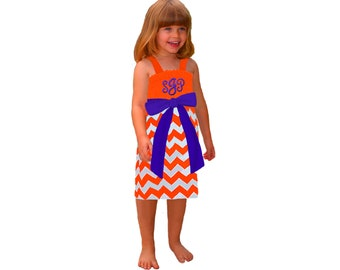 Orange + Purple Chevron Game Day Dress - Girls
