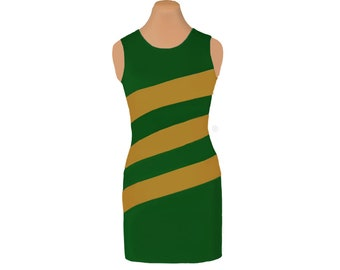 Green + Gold Diagonal Stripe Dress