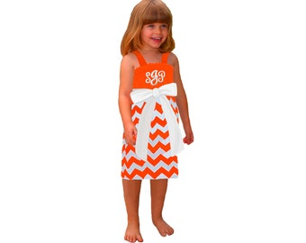 Orange + White Chevron Game Day Dress - Girls