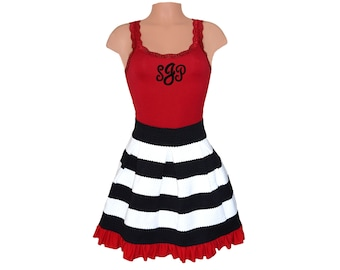 Red + Black Stripe Scuba Skirt and Monogram Tank
