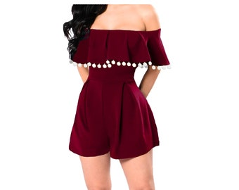 Deep Red Romper with White Pom Poms