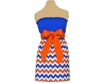 Orange + Blue Chevron Game Day Dress