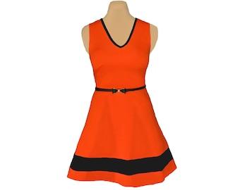 Orange + Black Skater Dress