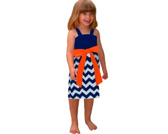 Orange + Navy Chevron Game Day Dress - Girls