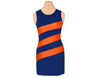 Orange + Navy Diagonal Stripe Dress