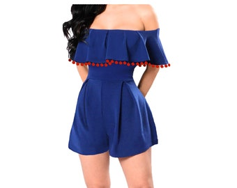 Blue Game Day Romper with Orange Pom Poms