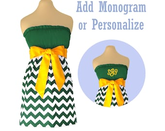 Green + Yellow Chevron Game Day Dress