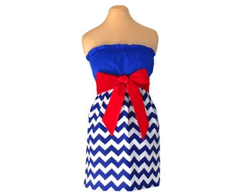 Red + Blue Chevron Game Day Dress