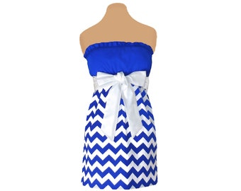 Blue + White Chevron Game Day Dress