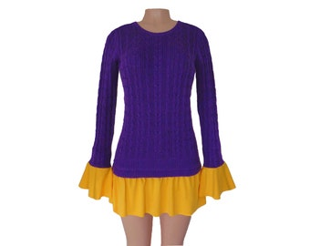 Purple and Bright Gold Tunic Sweater