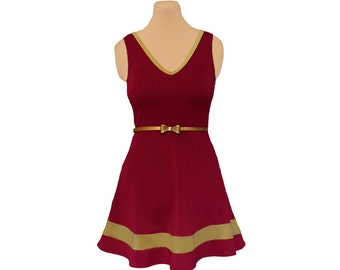 Deep Red + Gold Skater Dress