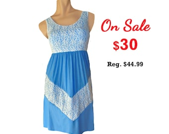 Light Blue and White Lace Chevron Dress