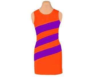 Orange and Purple Diagonal Stripe Dress