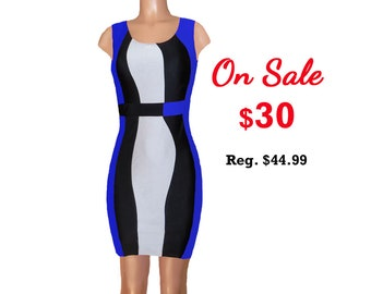 Blue + Black Color Block Dress