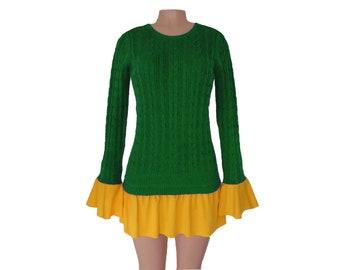 Green + Yellow Tunic Sweater