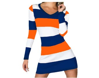 Orange and Navy Stripe Game Day Dress