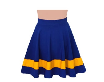 Dark Royal Blue + Yellow Cheerleader Style Skirt