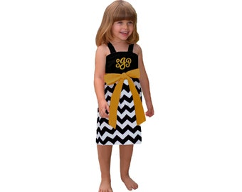 Black + Gold Chevron Dress- Girls