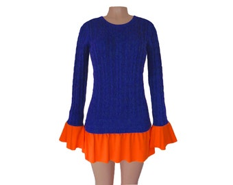 Dark Royal Blue + Orange Tunic Sweater
