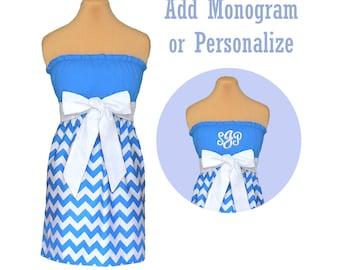 Light Blue + White Chevron Game Day Dress