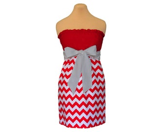Red and Gray Chevron Game Day Dress