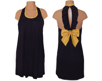 Black + Gold Back Bow Dress
