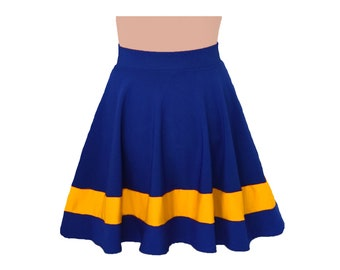 Dark Royal Blue + Yellow Cheerleader Style Skirt