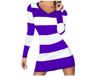 Purple and White Stripe Game Day Dress