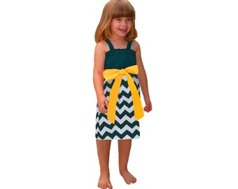Green + Yellow Chevron Game Day Dress - Girls
