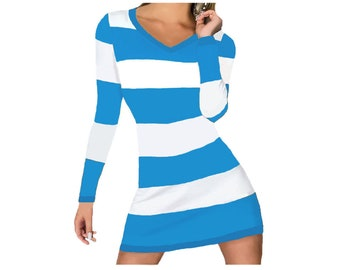 Light Blue and White Stripe Game Day Dress