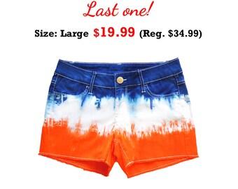 Orange + Blue/Navy Tie-Dye Shorts